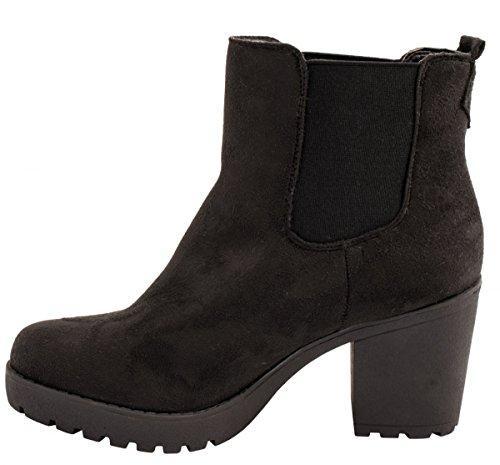 Elara Damen Chelsea Stiefel | Bequeme Stiefelette Profilsohle | Plateau Chelsea Boots Schwarz Gefüttert