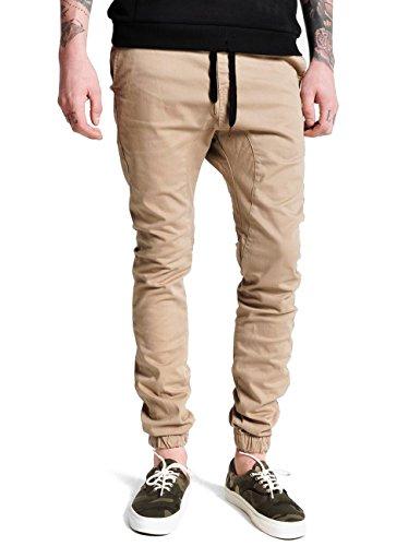 Italy Morn Uomo Jogger Pantaloni Cavallo Harem Jogging Basso Cargo Sportivi Cotone Slim Fit Pantalone Leggero Marina Chino Hip Hop Sport Casual XL Cachi