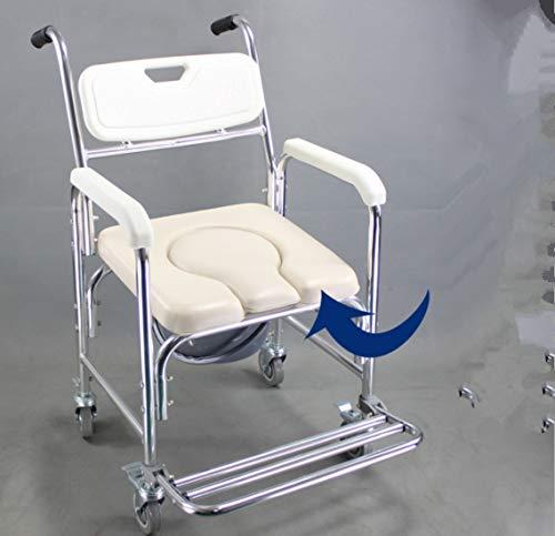 DDPP Duschkabine Kommode mit Armlehnen mit Gesundheits Leitung, Toilette mit Rollen Duschstuhl mit Rollen (4 Radbremsen), Toilettensitz Lehne und Sitz,2