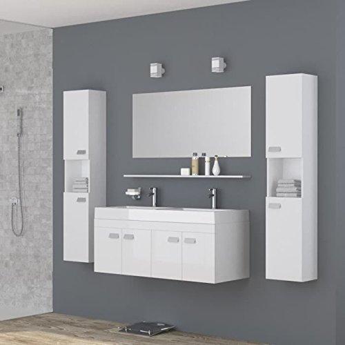 ALPOS Salle de bain complete double vasque 120 cm - Laqué blanc brillant