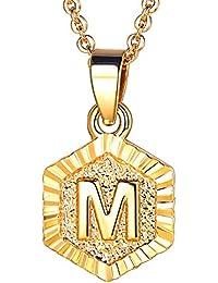 89e8357798ca FOCALOOK 26 Buchstaben A B C Anfangsbuchstaben Anhänger mit 55cm Rolokette  Hexagon Tag Halskette für Damen Frauen Mädchen…
