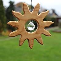 Fenster Deko zum Aufhängen | Sonne aus Holz | Regenbogenkristall | Fensterschmuck | Fensterdeko