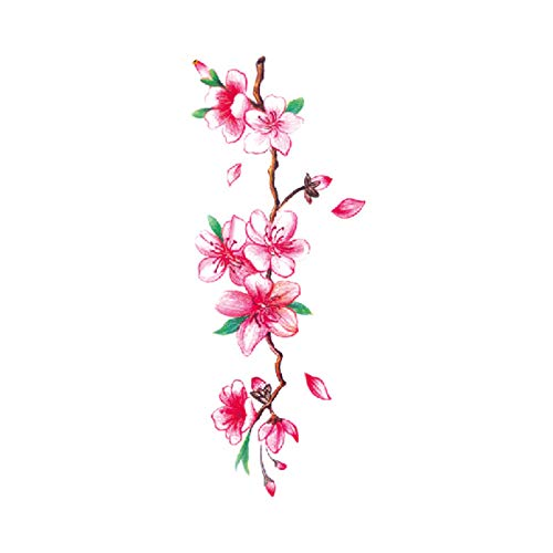 Kostüm Ritter Teenager - tzxdbh 7 Stücke-Blume Tattoo Aufkleber Damen Brust Bauch Kostüm Studio Rose Pfirsich Pfingstrose Tattoo Aufkleber TBX-9018 90 * 190 MM