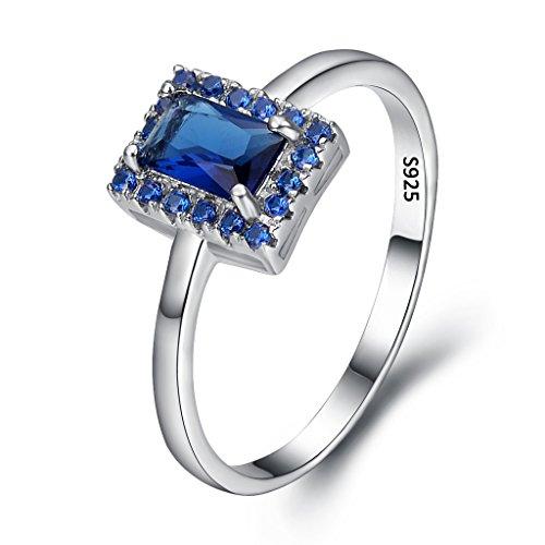 EVER FAITH® Women's 925 Esterlina Plata Emerald Corta CZ Cóctel Anillo Azul Zafiro Color - Tamaño S