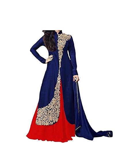 Fashion Vogue Girls Blue Colour Banglory Silk Un-Stitched Lehenga Choli,Gown,Salwar Suits,Dresses [Free...