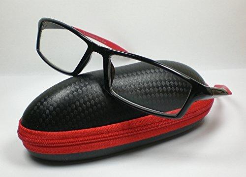 OOTB Sportliche Herren Lesebrille mit Etui Lesehilfe Fertigbrille 5 Farben rot/schwarz +3,0