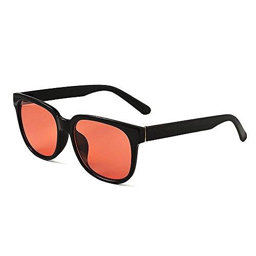 Easy Go Shopping Frauensonnenbrillen Retro Unisex Polarized für Frauen Übergroßer quadratischer schwarzer Rahmen Unzerbrechliches PC-Objektiv UV-Schutz umrandete Sonnenbrille Dame (Farbe : Rot)