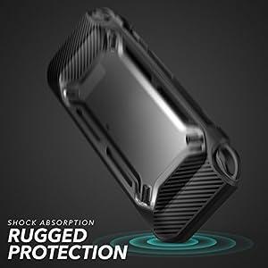 Nintendo Switch Case Cover Heavy Duty Slim Rubberized Hard Clear/Black