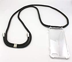 Kankii Handykette für iPhone X/Xs | Smartphone Necklace | Handyhülle mit Band | Smartphone Handy Hülle mit Kordel zum Umhängen | Handy-Kette | Schnur in schwarz