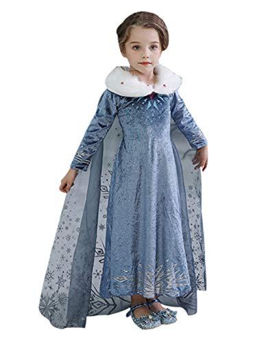 SUMTTER Karneval Kostüm Mädchen Kleidung Kinder Schneekönigin Prinzessin Kleid Cosplay Kostüm mit Umhang
