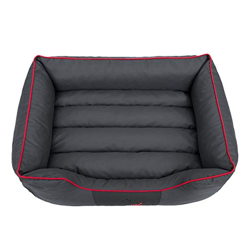 Hundebett Schlafplatz Hundekissen Comfort Große: XL Farbe: grau mit rot - 4