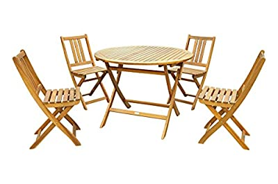 SAM® Gartengruppe Golstrup, 5tlg., Balkongruppe aus Akazienholz, FSC zertifiziert, 1 x Tisch Golstrup + 4 x Stuhl Farum, geölt, Garten-Tischgruppe, schöne Maserung, massives Holz, klappbar, Sitzgruppe aus Akazien-Holz von SAM® - Gartenmöbel von Du un