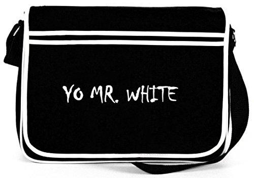 Shirtstreet24, YO MR. WHITE, Retro Messenger Bag Kuriertasche Umhängetasche Schwarz
