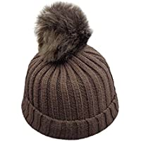 Gorro de PuntoNiño Invierno Gorro de Ganchillo Pom Bobble de Piel para Niño Beanie Hat Sombreros de Vestir Gorros Invierno Holatee