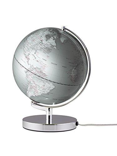emform Tischglobus Terra Silver Light, Metall & Kunststoff, 250 x 320 mm, beleuchtet