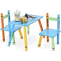 Preisvergleich für COSTWAY 3tlg. Kindersitzgruppe Kindermöbel Kindertisch mit 2 Kinderstühlen Holz