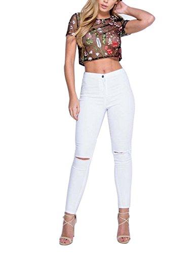 ISASSY Damen Casual Oberteile gesticktes Blumen T-Shirt bauchfrei Durchsichtig T Shirt bauchfreie Stil-Blümchen