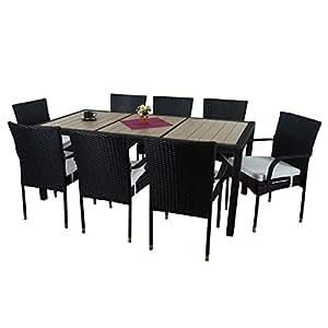 Salon de jardin Ariana polyrotin, lounge, 8xchaise+table,WPC bois composite~anthracite