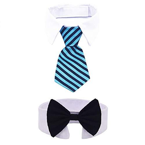 (MOREFUN 2 STK Verstellbar Haustier Hund Katze Fliege Kostüm Halsband Krawatte für Kleine Hunde Welpen Fellpflege Zubehör Small (Schwarz / Blau))