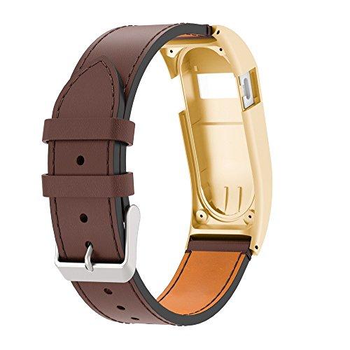 LCLrute Fitbit Charge HR Gurtband Luxus Leder Ersatz Handgelenk Band Strap mit Fall für Fitbit Charge HR (Gold) - Leinwand Gurtband