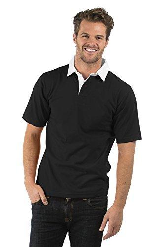 Bruntwood Aufgeld Kurzarm Rugby Hemd - Premium Short Sleeve Rugby Shirt - Herren & Damen - 280GSM - Baumwolle/Polyester (Schwarz, XL) (Print-rugby Bestickte)