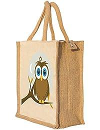 Nisol Owl Classic Printed Lunch Bag | Tote | Hand Bag | Travel Bag | Gift Bag | Jute Bag