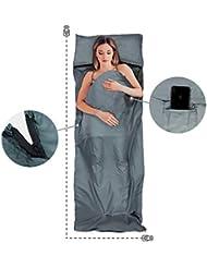 Dreamer & Joy Ultraleichter Hüttenschlafsack mit Geheimfach & doppeltem Reißverschluss - 100% Mikrofaser | 220 * 80 cm | 270g | grau - Inlett Reiseschlafsack Innenschlafsack