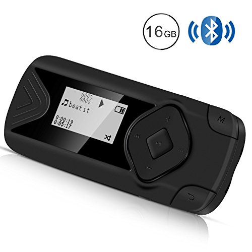 AGPTEK Lettore MP3 Bluetooth 4.0 16GB Clip Lettore Musicale per Sport con Radio FM e Registratore Vocale, Nero