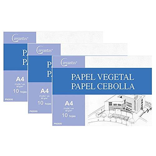 Cervantes - Pack de papel vegetal calco A3-A4 (A4, 30 HOJAS)