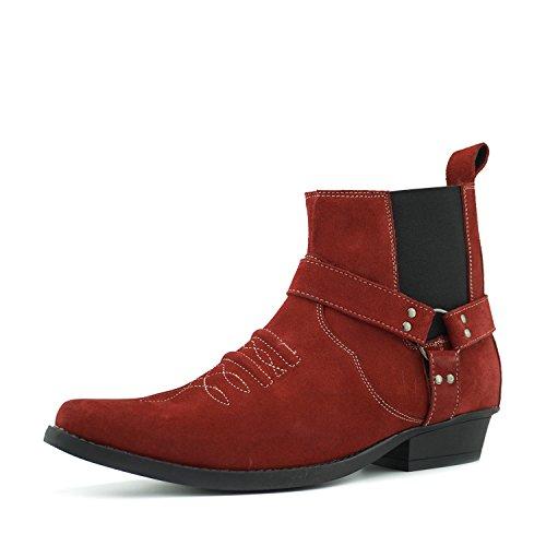Kick Footwear Herren Cowboy-Western Knöchel Wildleder Stiefel Ziehen Sie auf Kubanische Ferse - UK 12/EU 46, Red Suede -