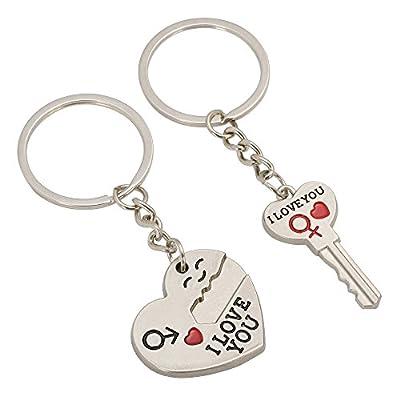 """TRIXES Un llavero en forma de corazón con flecha y otro con forma de llave, ambos con el mensaje """"I Love You"""". Regalo ideal para amantes y enamorados."""