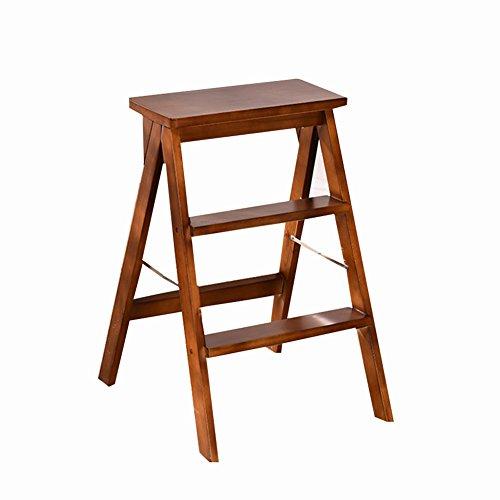 ZXWDIAN Tabouret pliant en bois massif Tabouret portatif multi-fonctions escabeau pliant chaise haute banc de cuisine Escabeau banc chaussure changement banc (Couleur : Brown)
