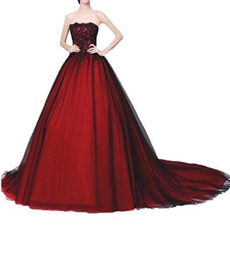 O.D.W Longue Robes de Retro Mariage Femme Dentelle Gothique Robe de MarišŠe de Vintage Rouge+Noir 32