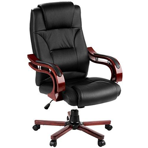 TecTake 400256   Silla de escritorio de oficina, de cuero sintético, color negro