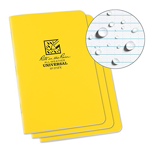 Rite in the Rain Unisex Staple Bound Mini Impermeabile Notepad (Confezione da 3), Giallo, 4 ⅝ X 7