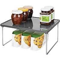 Organizador de armarios de cocina mDesign Juego de 2 estantes de cocina Soporte para platos para encimera o interiores de armarios negro//gris humo ideales para aprovechar el espacio