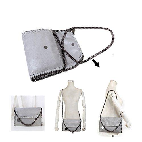 Damen Tasche Clutch Bag Handtasche Kettentasche PU Leder Crossbody-Tasche Abendtasche mit Kette Grau