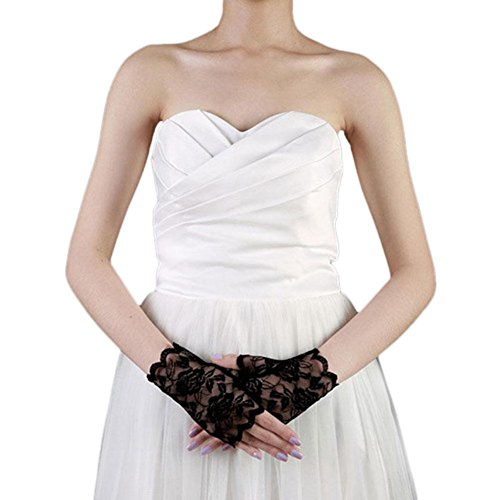 Stretch-spitzen Handgelenk Handschuhe (Vin beauty Spitze fingerlos Fäustlinge Hochzeit Braut Urlaubsparty Cosplay Kurze Handschuhe)