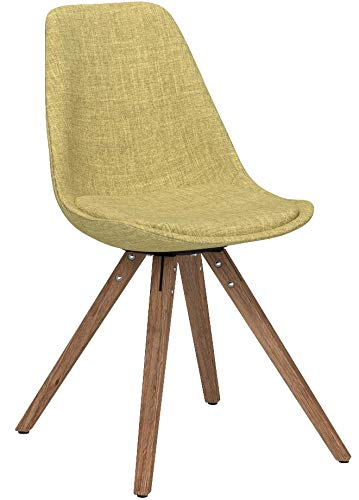 CLP Retrostuhl PEGLEG Square mit Stoffbezug I Gepolsterter Schalenstuhl mit Holzbeinen und Einer Sitzhöhe von: 46 cm Grün, Holzgestell Farbe Natura, Bein-Form eckig