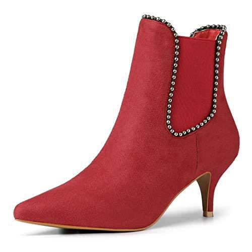 Allegra K Damen Perlen Spitze Kitten-Heel Wildleder Stiefelette Schuhe Chelsea Boots Rot 40 EU/Etikettengröße 9 US - Pointy Toe Boot