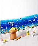 ZBYLL Wall Sticker Unterwasser Welt Gürtellinie Sockelleisten Schlafzimmer Wohnzimmer Badezimmer wasserdicht