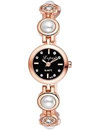 lvpai–lujo elegante Faux Pearl Rhinestone Esfera Redonda Pulsera analógico reloj de pulsera esfera de color oro rosa caso + Negro
