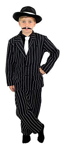 Kind Gangster Kostüm Set schwarz Pin Stripe Hose und Jacke + Mütze Kids Jungen 1920er