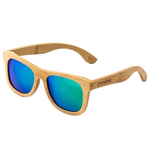 Pandoo Bamboo Occhiali da sole con custodia per occhiali, cacciavite e sacchetto - polarizzati e UV400 - diversi occhiali - legno / donna / uomo / unisex / protezione UV