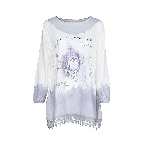 Damen T-Shirt, MYMYG Spitze Printed Langarm V-Ausschnitt Tops Lose T-Shirt Bluse(E3-Grau,EU:48/CN-XL)