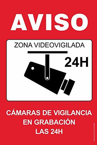 akrocard Cartel Resistente PVC - Zona VIDEOVIGILADA 24H(Rojo) - Señaletica de Aviso - Ideal para Colgar y Advertir al transeúnte
