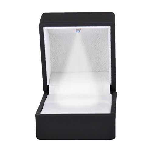 Preisvergleich Produktbild Ring Schachtel mit LED-Licht Ringe Samt Box Schmuck Etui,Schwarz