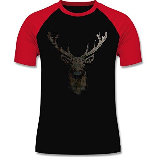 Weihnachten & Silvester - Hirsch Pixel - zweifarbiges Baseballshirt für Männer Schwarz/Rot
