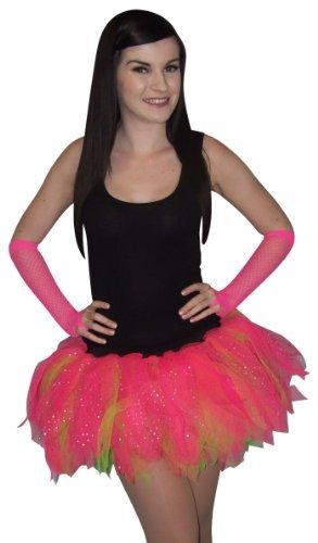 Honey B s   Funky 5 Layer Ruffle Diamante Princess Tutu Neon Pink Kids Adults  Adults Plus Size 14  Length