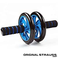 STRAUSS Unisex Adult ST-1306 Double Wheel Ab Exerciser With Knee Pad - Blue, One Size
